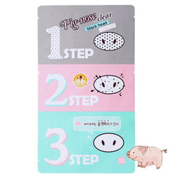 Wholesale Clear Nose Pores - 1000pcs Big discount Holika Pig Nose Clear Black Head Perfect Sticker 3 steps Clear Black Head Mask Blackhead Remover DHL Free