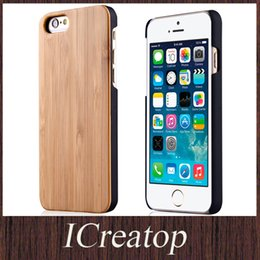 Wholesale Genuine Wooden Iphone Case - True Wood Case for iPhone6 6Plus Galaxy S6 S6edge Natural Genuine Cherry Maple Walnut Bamboo Wooden shell With Durable PC Leather