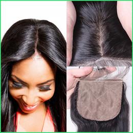 Wholesale Silk Top Closure Hair - 7A Brazilian Virgin Hair Silk Base Closures,8-20'' Natural Black Silky Straight Bleached Knots Top Closure,Silkbase Human Hair Lace Closures