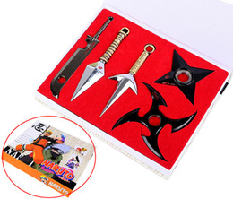 Wholesale Naruto Weapons Free Shipping - 2015 New Anime Naruto Cosplay Shuriken Model Metal Sword Weapon Figures&Actions Toys Free Shipping