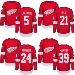 Wholesale Polyester Bobs - Customized Mens 2017-2018 Detroit Red Wings 5 Nicklas Lidstrom 21 Tomas Tatar 24 Bob Probert 39 Anthony Mantha Hockey Jerseys