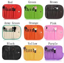 Wholesale Eye Shadow Sponge Brush - Makeup Brushes Make Up Brush Set Kits Eyelash Brush Blush Brush Eye-shadow Brush Sponge Sumudger 7pieces Make Up Tools PU Bag