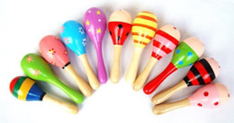 Wholesale Maracas Instrument - Baby Toys Kids Wooden Rattle Maracas Cabasa Music Instrument Sand Hammer Orff Instrument Maracas Infant toys 20pcs lot