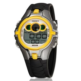 Wholesale Cool Dive Watches - Wholesale-Top sale ohsen brand LED Digital boys watch day date alarm 30M diving silicone band yellow fashion cool waterproof sport clock