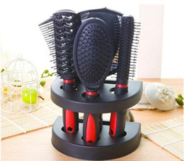 Wholesale Comb Set Hairdressing - 5Pcs set Combs Sets Kits Black Professional Combs Hairdressing Hair Salon Styling Barbers tools straight hair curls Comb gift drop shipping