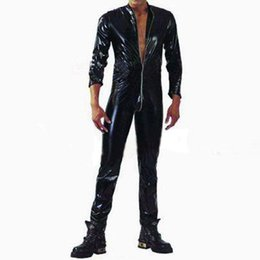 Wholesale Men Leather Catsuit - Wholesale-Plus S-XXL Strong Men Black PVC Leather Latex Bodysuit Top PU Sexy Zentai Catsuit Gay Male Leotard Open Crotch Zippre Jumpsuit