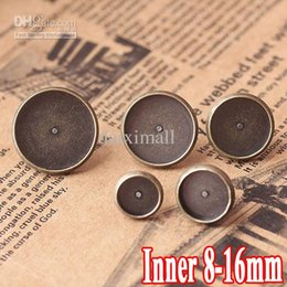 Wholesale Round Trays Bronze - WHOLESALE, 200pcs ANTIQUE BRONZE , Fashion Design Stud Earring with inner 8-16mm Round Blank base Tray , DIY earring findings
