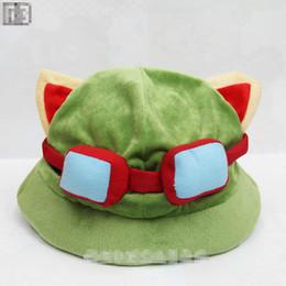 Wholesale Hat Lol - EMS Cosplay teemo hats 12 Inch League of Legends cute teemo Cartoon hats LOL soft stuffed hat high quality B001