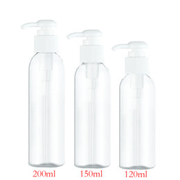 Wholesale Dispensers For Soap - 50pcs 120ml 150ml 200ml clear round lotion pump shampoo bottle containers for cosmetic packaging,amber PET bottle with liquid soap dispenser