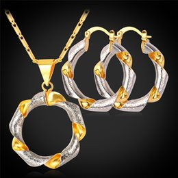 Collares de oro únicos para mujer. online-U7 Hoop Earrings Unique Necklace Earrings Trendy Round Necklace Necklace Earrings Mix Platinum / 18 K Real Gold Plated Dubai Jewelry Set Mujeres
