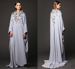 Wholesale White Muslin Gown - Arabic Dresses Party Evening Gowns V Neck Butterfly Appliques Long Sleeve Prom Dresses Muslin Dubai Abaya Mother Of Bride Celebrity Gowns