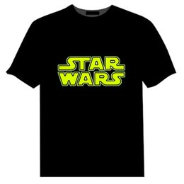 Wholesale Women S Casual Wear Wholesale - 2016 spring Star Wars Men LED T-Shirt light sound control Mens women lights Tops Short Sleeve party wear bar clothes EL FlashingT Shirts