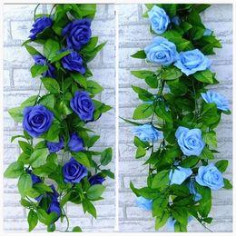 2016 nuovo blu e bianco artificiale fiore di seta rosa foglia verde ghirlanda di vite per la parete della casa weddin decorazioni del partito 2.4 m lungo cheap long white flowers silk da lunghi fiori bianchi seta fornitori