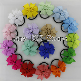 Wholesale Hair Ponies Barrettes Wholesale - Free Shipping!40pcs lot Baby Girls Elastic Hair Band,Pony Tail Holder Ribbon Pinwheel Bows Headband For Kids Hair Accessories HJ004+XP