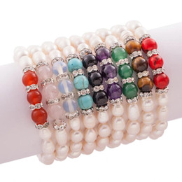 Wholesale Alloy Pearl Bracelet - MIC New 9Colors Fresh Water Pearl Colors Opal Crystal Beaded Stretchy Bracelets Strands Fashion Jewelry Hot