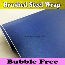 Wholesale Dark Brushed Aluminum - Dark blue Brushed Steel Vinyl Wrap Car Wrapping Film Vehicle Styling Air Bubble Free Car Stickers Automotive Graphics 1.52x30M Roll