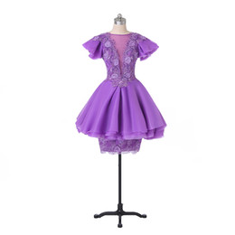 Wholesale Transparent Cocktail Dresses - New Coming Sheath Cocktail Dresses 2015 Short Sleeves Organza Tiered Appliques W7099 Lavender Transparent Covered Button Colorful Fashion