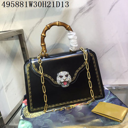 Wholesale golden tote - Women Medium Leather Totes top real leather original hardware Gold Leopard head Golden edges Women Boutique bags factory prices