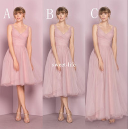 Wholesale Tea Length Gray Wedding Dress - Cheap Mismatched Pink 2017 A line Bridesmaid Dresses V Neckline Sleeveless Zipper Empire Tulle Tiered Skirts Tea Length Wedding Guest Dress