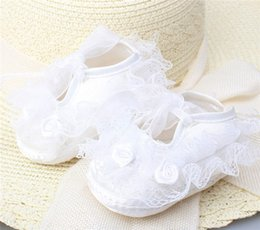 Wholesale Air Bows - Baby Moccasins Princess Girl Rose Flower Silk Bow Lace Shoes Toddler Red Pink White Yellow Soft Sole First Walker Shoes For 0-1T I4517
