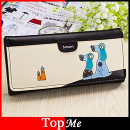 Wholesale Wholesale Ladies Leather Hand Bags - Wholesale-Hot sale fashion Cute Dog women wallets cards ID holders soft PU leather lady hand bags money coin purse wholesale clutch wallet