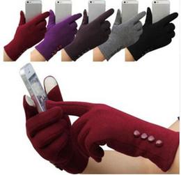 Wholesale Womens Winter Mittens - Fashion Womens men Winter glove 4 Buttons Touch Screen Gloves Outdoor Sports Warm Gloves Mittens KKA3610