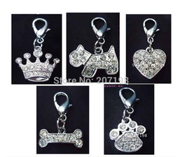 Wholesale Mix Slide Dog Collar - crystal rhinestone dog pet collar pendant charms in crown bone heart paw dog shape, can mix shapes
