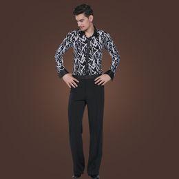 Wholesale Latin Dance Wear Top - Stylish Slims Dancing Apparel Long Sleeves Printing Shirt Pants Gentlemen's Latin Dance Tops Trousers Stage Wear tl804