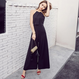 Wholesale Metal Collar Sexy - Wholesale- 12 OAKS OF KATY Europe and America Women Fashion Metal Collar Sleeveless Sexy Off the Shoulder Long Wide Leg Jumpsuit