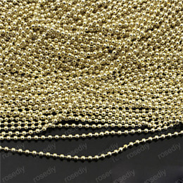 Wholesale Diy Gold Slide Charms Letter - jewelry components diy brass chains round beads light gold plated bracelets necklaces wholesales new copper metal free ship 2.4mm 1.5mm 30m