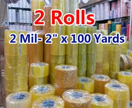 Wholesale Office Paper Wholesale - 2 rolls 2 Mil- 2inch x 100 Yards Packing Tape Adhesive Tape Film Paper Adhesive Strapping Gift Ribbon Office Adhesive Tape