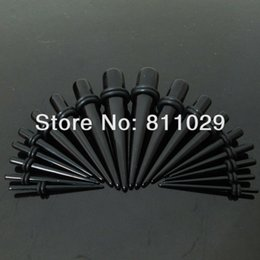 Wholesale Ear Gauges Tapers - free shipping wholesale Fashion Charm 180pcs mixed 9 gauges black color ear expander acrylic straight ear taper Hot