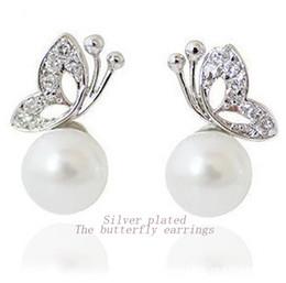 Boucles d'oreilles en perles argentées en Ligne-E119 2014-Song hye-kyo boucles d'oreilles perle papillon, han édition boucles d'oreilles bijoux de mode pour la mariée