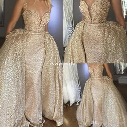 Wholesale Stylish Sleeveless Jackets - Stylish Champagne Sequined Overskirts Dress Evening Wear Spaghetti Sheath Mermaid Prom Gowns Dresses with Detachable Train