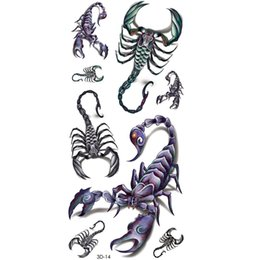 Cuerpo rey online-Al por mayor-Cool Scorpion King 3d tatuaje temporal Body Art Flash Tattoo Stickers 20 * 10 cm impermeable Henna Tatoo Selfie falso tatuaje etiqueta