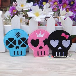 Wholesale Cartoon Head Costume - Free Shipping skull head punk stickers 12pcs lot Iron On Embroider cloth patch cartoon party costume decoration gift
