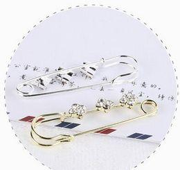 Wholesale Safety Pins Rhinestones - Fashion 10PCs Silver Tone Rhinestone Safety Pins Brooches For Women 6.5x1.9cm