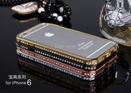 Wholesale Iphone 5s Diamond Bumper - iphone 6 plus case Luxury Crystal Rhinestone Diamond Bling Metal bumper Case Cover For IPhone 6 5 5S 4 4s samsung note 3 s5