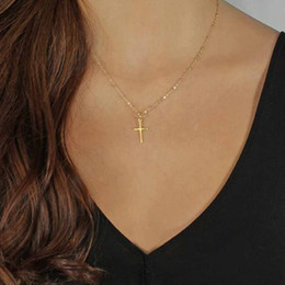 Wholesale Religious Gold Cross Pendant - TOMTOSH 2018 Summer Gold Chain Cross Necklace Small Gold Cross Religious Jewelry