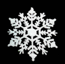 2019 decorazioni di fiocchi di neve di plastica fiocco di neve ornamento 4 pollici plastica fiocchi di neve di natale ornamenti ciondolo accessori decorazioni natalizie fiocco di neve con polvere CN03 sconti decorazioni di fiocchi di neve di plastica