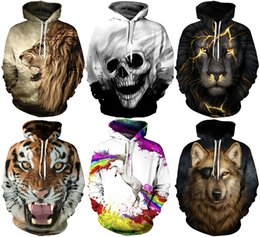 Wholesale Winter Coat Color - 2017 Christmas Santa Autumn Winter 3D Animal Print Men Hoodies Coat With Hat Pocket Digital Print Hooded Pullovers S~2XL
