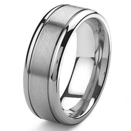 Wholesale Tailor Made Weddings - Wholesale-Tailor Made 8mm Mens Grooved Titanium Wedding Band Ring Small Size 3 to Large Size 18 (#TR13)