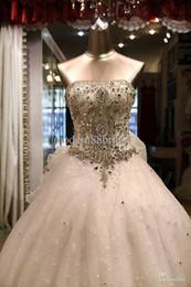 Wholesale Strapless Swarovski - Best Selling Luxury Ivory Charming Strapless Ball Gown Fashion Swarovski Crystal Catheral Train Ruffles Wedding Dresses Bridal Dress