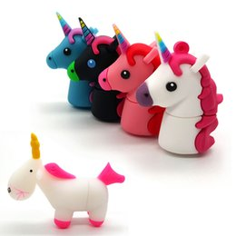 Wholesale Horse Driving - USB Flash Drives 1GB 2GB 4GB 8GB 16GB 32GB Cute Rainbow Horse USB Memory Stick Animal Pendrives For Children Toy Gift