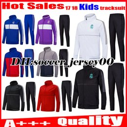 Wholesale Kids Football Suits - Kids 2017 2018 Real madrid trainingsuit kits tracksuit children soccer Jersey ASENSIO RONALDO BALE RAMOS ISCO football training suit jacket