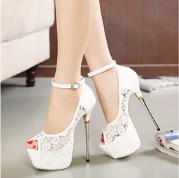 Wholesale High Heels 16cm - Bridal White Lace Wedding Shoes Designer Shoes Ankle Strap 16CM Sexy Super High Heels prom dress shoes