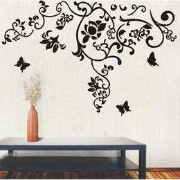 Wholesale Fashion Television - Large Size Black Flowers Rattan Butterfly Wall Art Mural Decor Living Room Fashion Creative Wallpaper Decal Poster 100 x 160CM