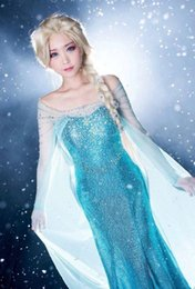 Wholesale Evening Dress People - Frozen Elsa Queen Princess Adult Women Evening Party Dress Costume Elsa Dresses DH04