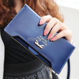 Wholesale Buckle Clutch - Women wallet Golden Bow knot Long PU Leather Card Holders Clips Flower Hasp Buckle Open Wallets Clutch Long Purse b9 SV001289