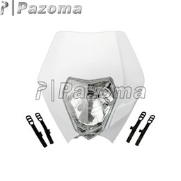 Wholesale Yellow Motorcycle Headlight - PAZOMA MOTORCYCLE White Dirtbike Motocross OFF ROAD Universal Headlights ENDURO ROAD LEGAL RMZ RM KX SX KTM Dual sport motorcycles